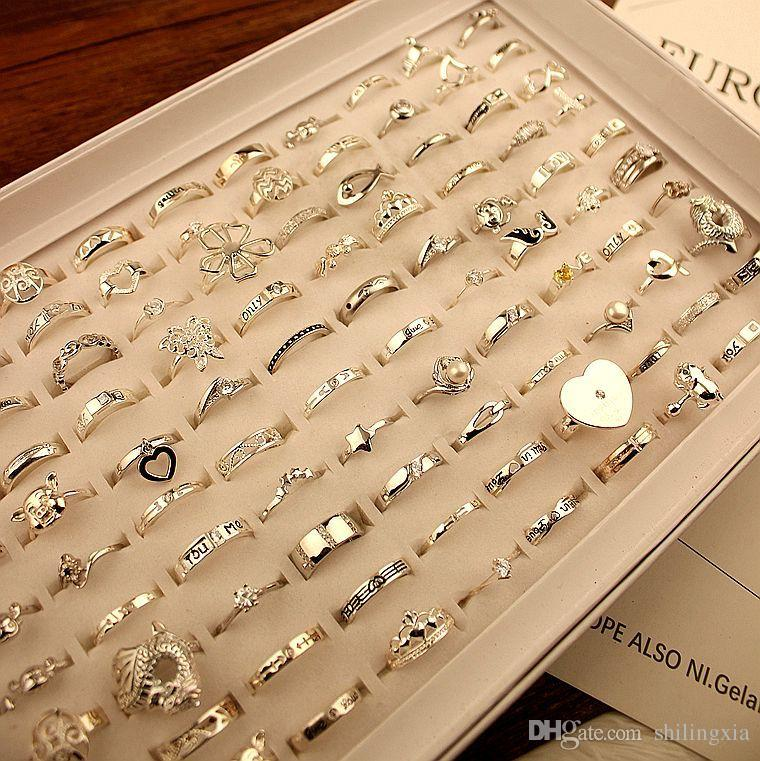 20 가지 스타일 실버 다이아몬드 연인 반지 웨딩 보석 밴드 반지 고품질 무료 배송