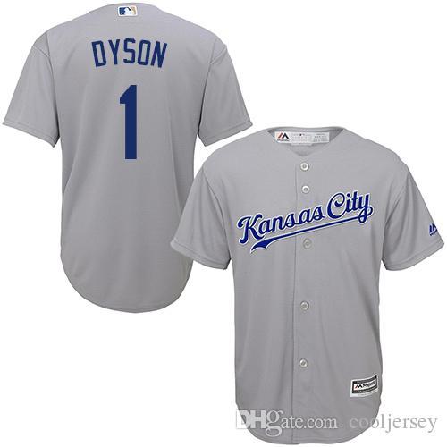 661857a7e ... 2017 MenS Majestic Kansas City Royals 1 Jarrod Dyson Authentic White Light  Blue Grey 2015 World ...