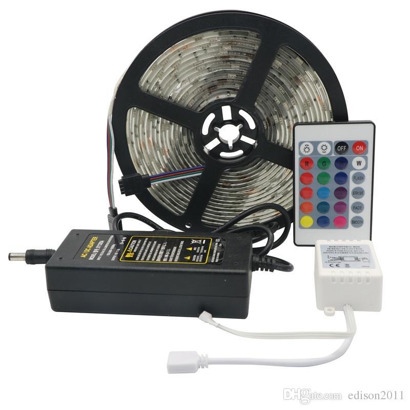 Edison2011 5m 150Lettes SMD 5050 LUCI FLESSIBILE LUCI RGB LED Striscia DC12V 30LEDS / M Impermeabile 24 Key IR Remote Controller 5A Alimentazione