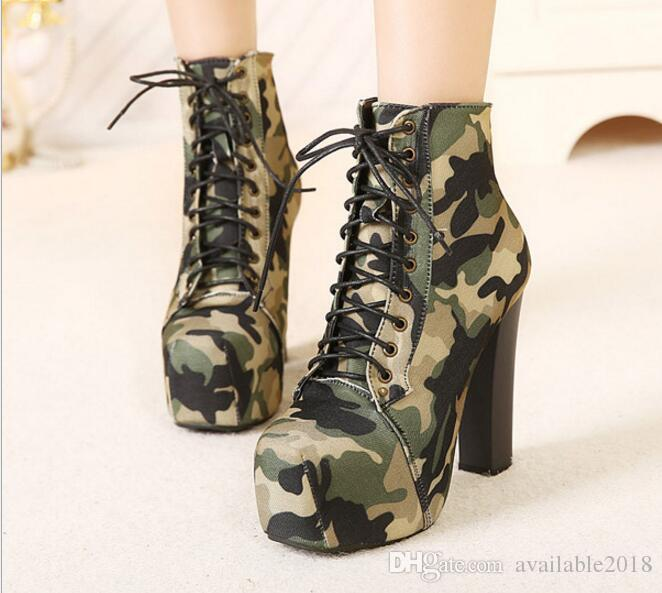 91801432307 Easy Fashion High Heel Boots European Camouflage Canvas Army Boots Lace Up  Girls Super High Heel Pumps Woman Fashion Autumn Shoes C085 Chukka Boots ...