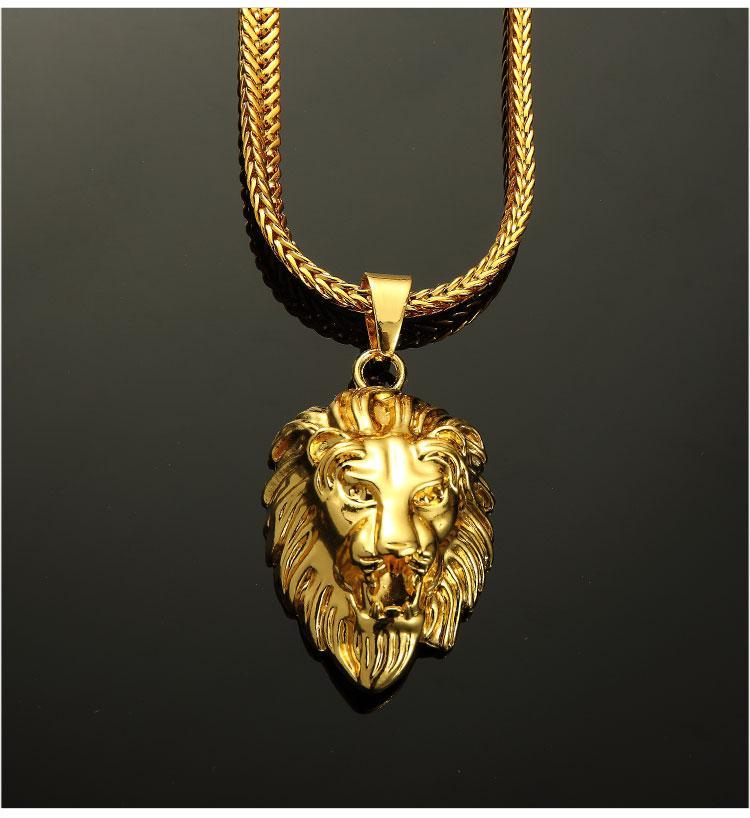 07 hip hop golden lion head pendant necklace