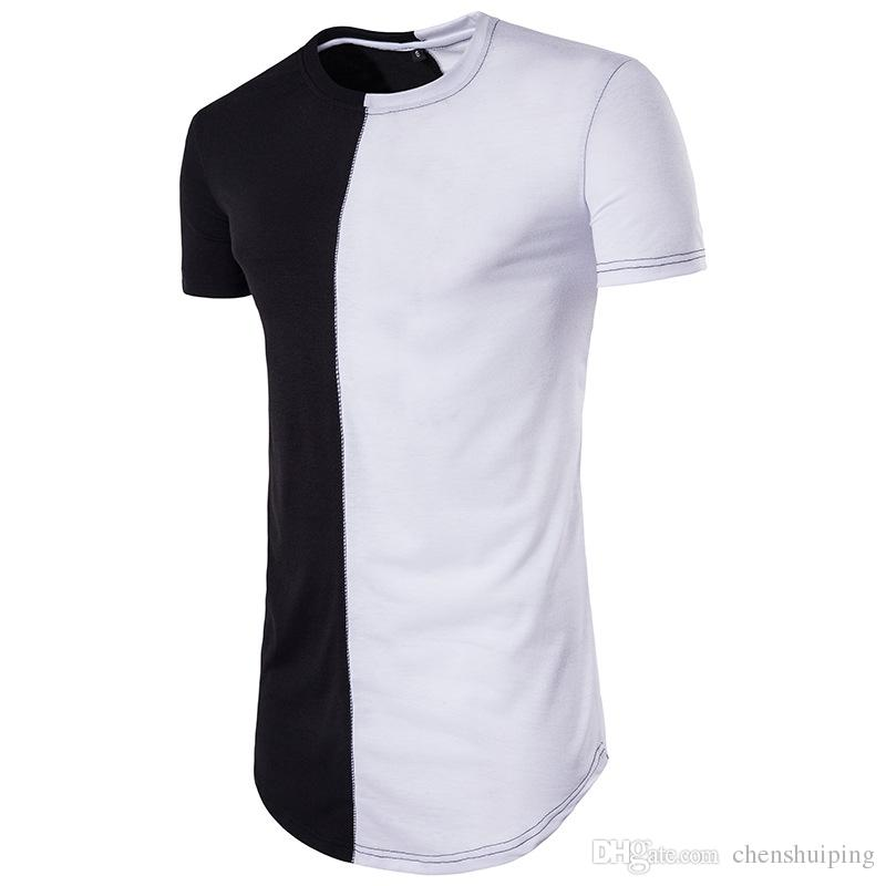 Casual Men long tshirt Hip hop Clothing Tops StreetWear t-shirts Solid Short Sleeve t shirt Men's clothing