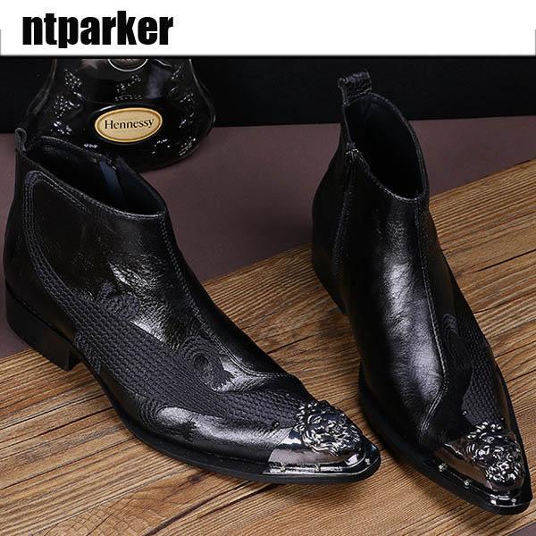 Stivali da uomo in pelle nera con tacco alto in vera pelle Scarpe da uomo in metallo con fibbia in metallo con cerniera per stivali da uomo Botas Militares, EU38-46