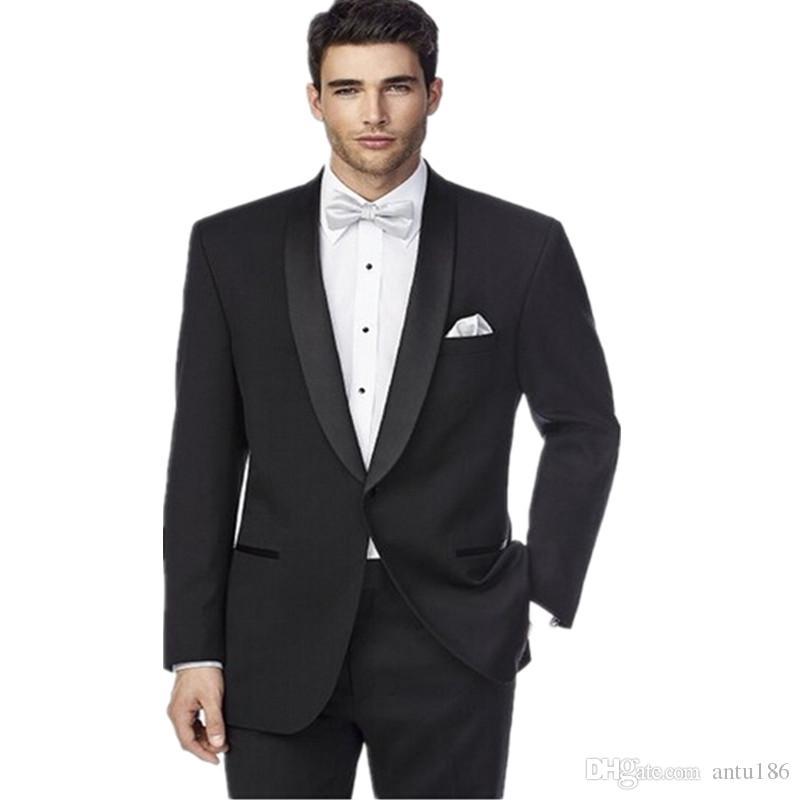 Siyah moda erkek düğün takımları özel yapılmış bir düğme damat smokin son tasarım damat takımları (ceket + pantolon)