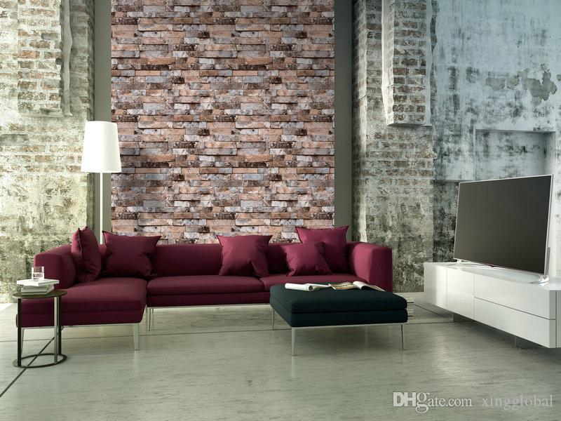 3d Red Grey Distressed Textured Old Brick Wallpaper For Living Room 3  Dimension Brick Effect Wallpaper ... Part 52