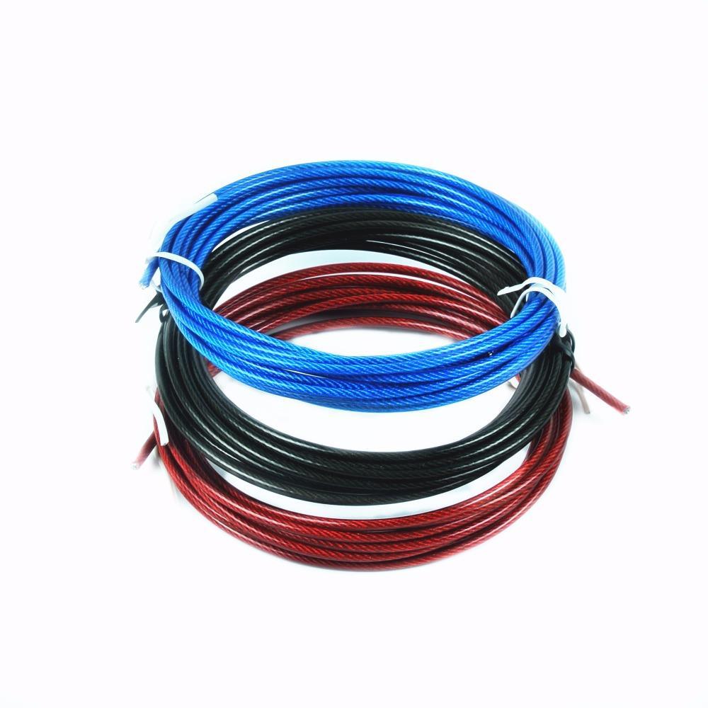قطع حبل 3 أمتار Crossfit سلك كابل للاستبدال سرعة القفز الحبال تخطي حبل اللون الأحمر الأزرق والأسلاك الفولاذية السوداء