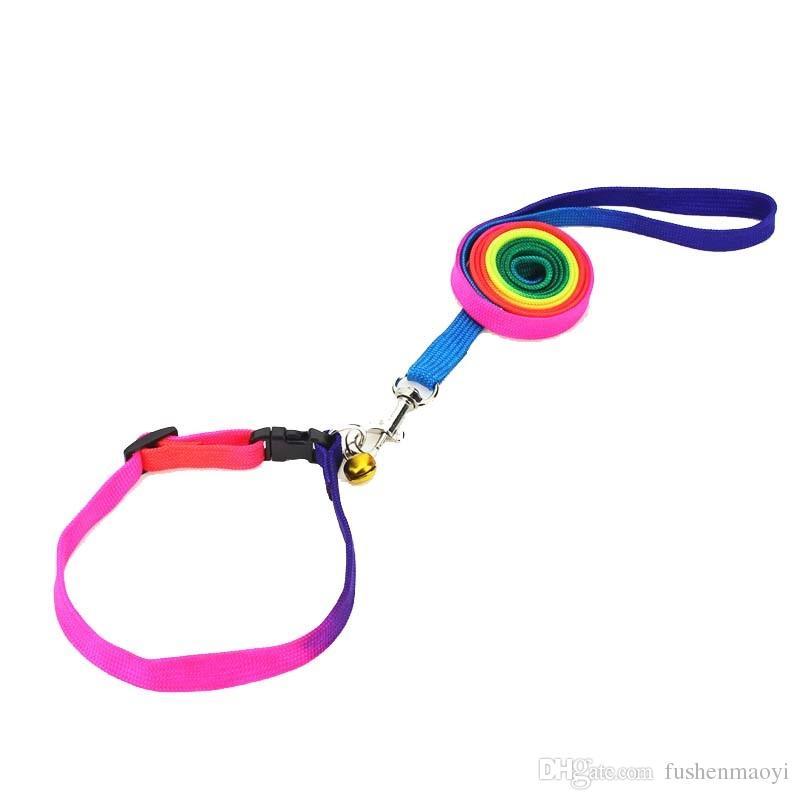Rainbow Dog Cat Bell Collar e Guinzaglio regolabile All'aperto Comfort Comfort Nylon Collari per animali domestici per cani da cani per piccoli cuccioli Forniture per animali domestici