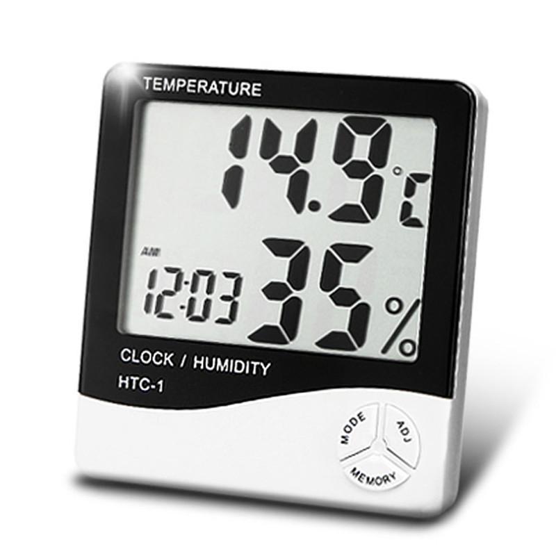 Quando o medidor de temperatura e umidade, medidor, temperatura e medidor de umidade em uma tela grande, termômetro interior e exterior