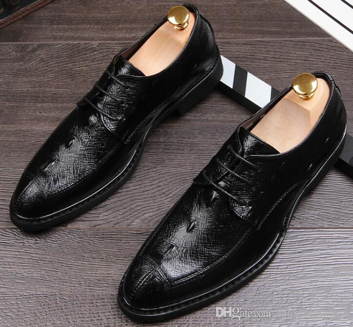 Мода острым носом мужская бизнес Крокодил обувь черный коричневый мужская платье Свадебные кожаные туфли Оксфорд дерби обувь