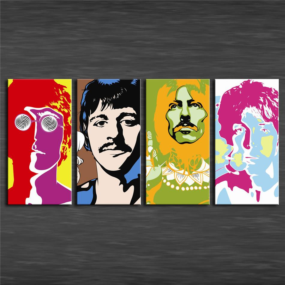 The Beatles Animado,4 Pieces Home Decor HD Printed Modern Art Painting on Canvas (Unframed/Framed)