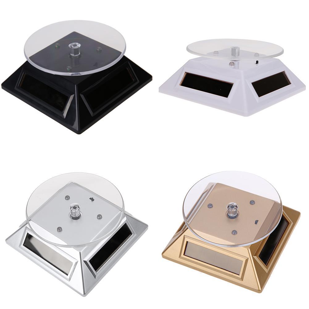 Atacado-Novo Cool Fashion 3LED Cor Luzes Solar Showcase 360 Turntable Rotating jóias de exibição Assista Anel Levante 037B criativa