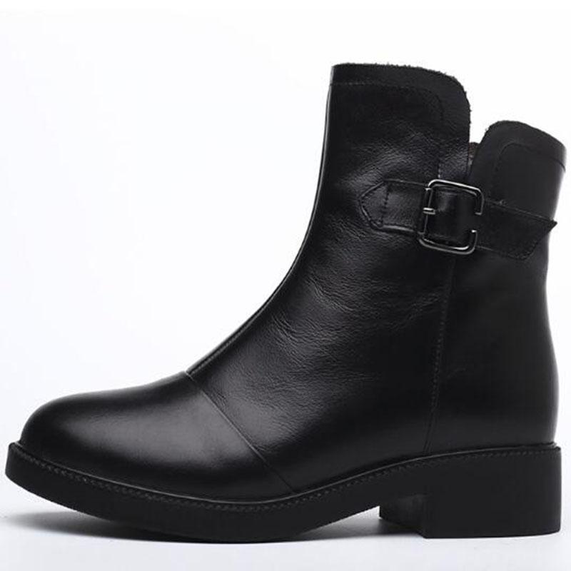 Les femmes hiver bottes courtes dames en cuir véritable fourrure cowskin bottines noires mode bottes imperméables martin grande taille