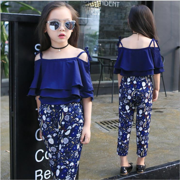 2019 Wholesale Kids Clothes 2017 New Fashion Summer Blue Off Shoulder  Shirts Tops Flower Nine Pants Sets Girl Children From Faithritalau888,  $19.23