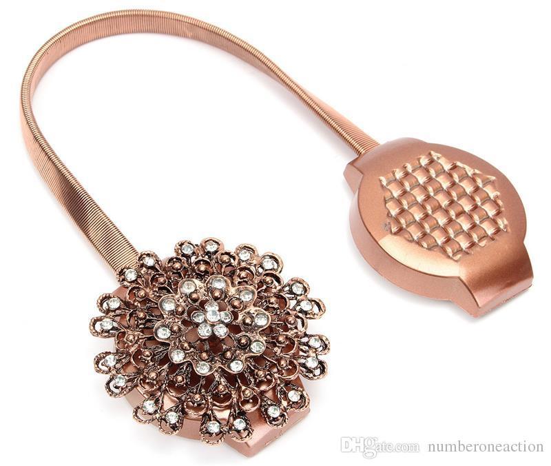 Europäische - Stil Diamant Blume geformte Magnetvorhang Raffinerie Magnetische Vorhänge Schnallenfenster Screening Ball Clip Halter Zubehör