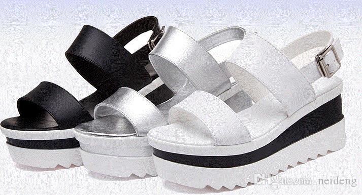 Plataforma Sandálias Mulheres Sapatos de Verão de Couro Macio Sapatos Casuais Abertos Toe Gladiador cunhas Trifle Mujer Mulheres Sapatos Flats.LX-017