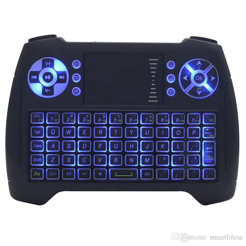 Mini Teclado Retroiluminado Rato Multi-touch Pad 2.4G T16 Rii i8 + Teclado Do Jogo Sem Fio Fly Air Mouse Remoto para Andriod TV Box IPTV