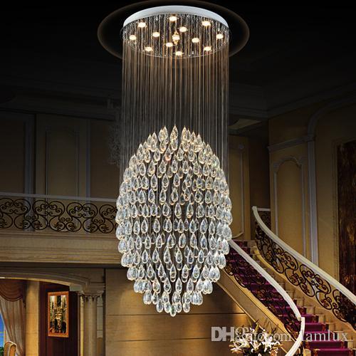 Lampadari a LED in cristallo Lampadari a sospensione in cristallo a led moderni lampadari a sospensione a lampadario tondo per scale duplex villa hotel hall