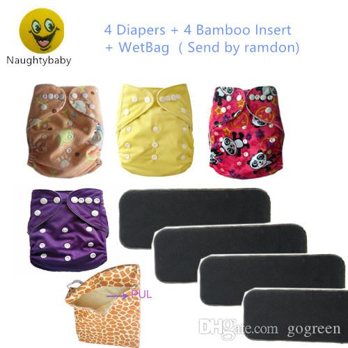 Wholesale -4 Diapers +4 Inserts Baby Diapers Baby Cloth Diapers Wet Bag gift Suppliers Baby Diapering all in one size