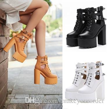 wholesaler European and American brands chunky heel rude heel fashion high heel belt platform Martin boot women shoe352