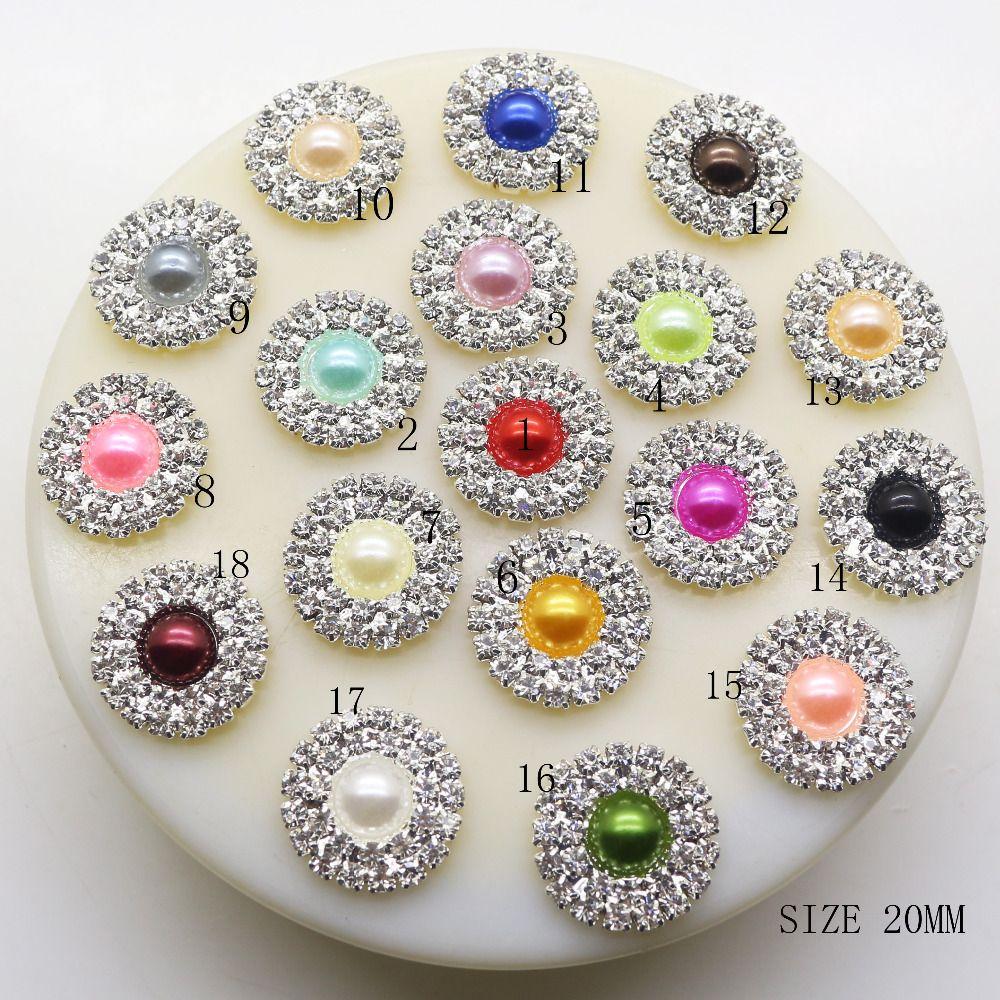50 adet 20mm Yuvarlak Inci Rhineston Düğmeler Gümüş DIY Saç Aksesuarları Düğün Festivali Dekor