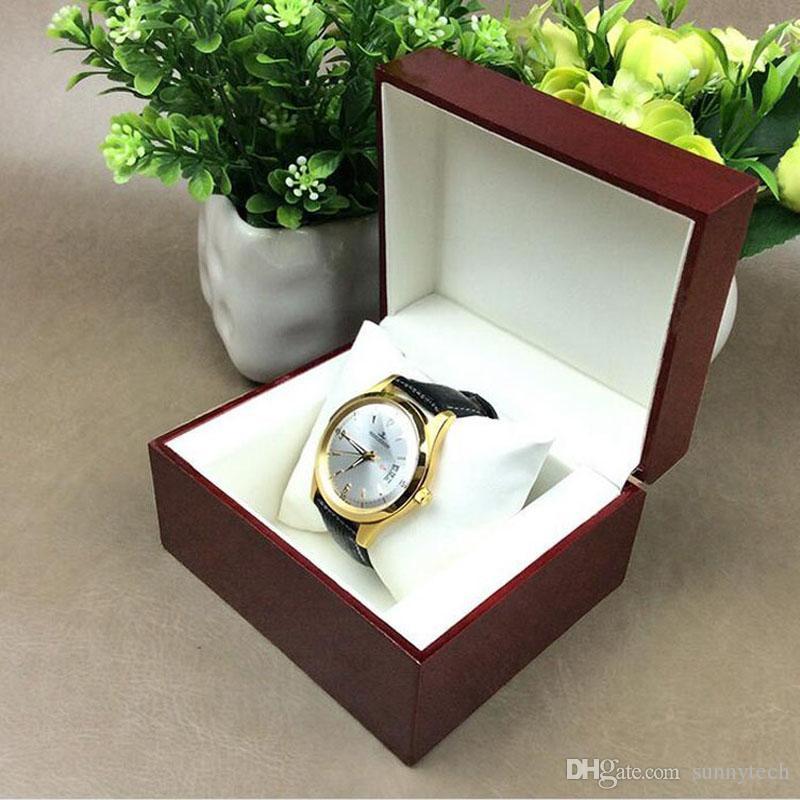 Elegante orologio di legno rosso scuro durevole di visualizzazione scatola di orologi di lusso gioielli titolare dell'organizzatore del supporto regalo ZA4631