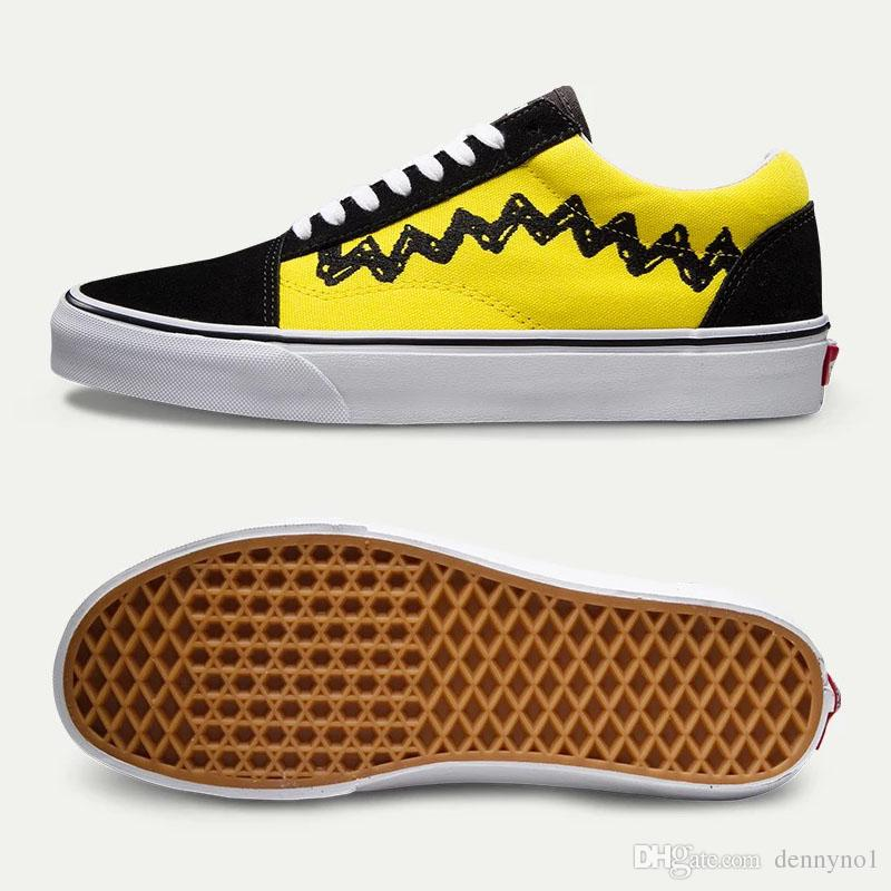 New PEANUTS OLD SKOOL Charlie Brown Black Men Footwear Ian Connor Old Skool Women Fashion Current Shoes Comfortable Shoes Discount Shoes From