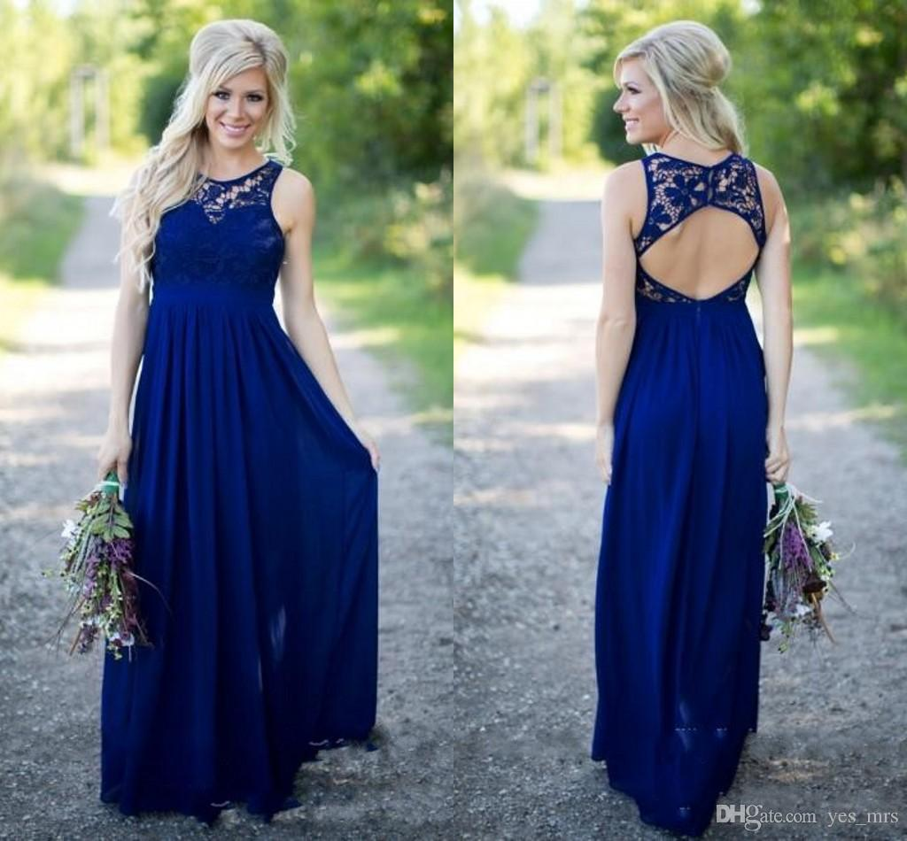 2018 Sexy Country Long Bridesmaid Dresses Navy Blue Jewel Neck Lace Appliques Hollow Back Plus Size Maid of Honor Bridal Wedding Party Gowns