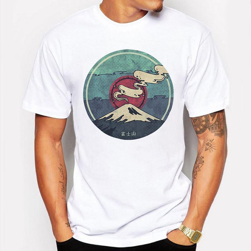 Мужская одежда мужчины футболки Япония гора Фудзи печати повседневная Slim Fit с коротким рукавом смешные футболки футболка homme de marque футболка