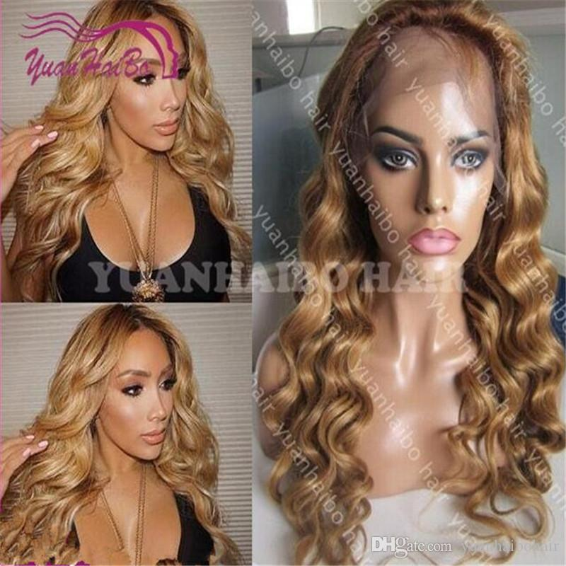 full lace wig high quality solid blonde color #27 loose wave brazilian honey blonde remy hair ombre lace front wig free shipping