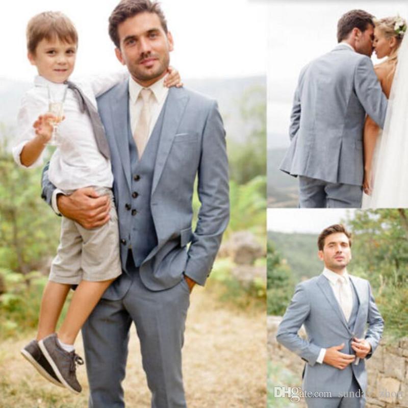 Abiti da Sposa Grigio Chiaro Abiti da sposo su misura Smoking Abiti Moda Abiti da cerimonia formali adatti a smoking (Giacca + Pant + Vest)