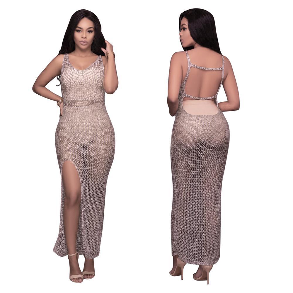Buyter (TM) Nuevo estilo europeo sin espalda de verano o con cuello en la playa que cubre un vestido largo sin mangas casual