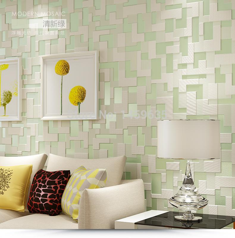 Wholesale- New Mordern Fashion 3D Mosaic Wallpapers for Living room Bedding room ,Of Wallpaper Roll For Walls Tapety,papel de parede