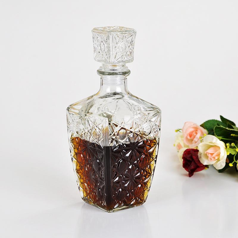 250ml 500ml 1000ml High Quality Glass Whiskey Liquor Wine Drinks Decanter Crystal Bottle Wine Carafe Gift