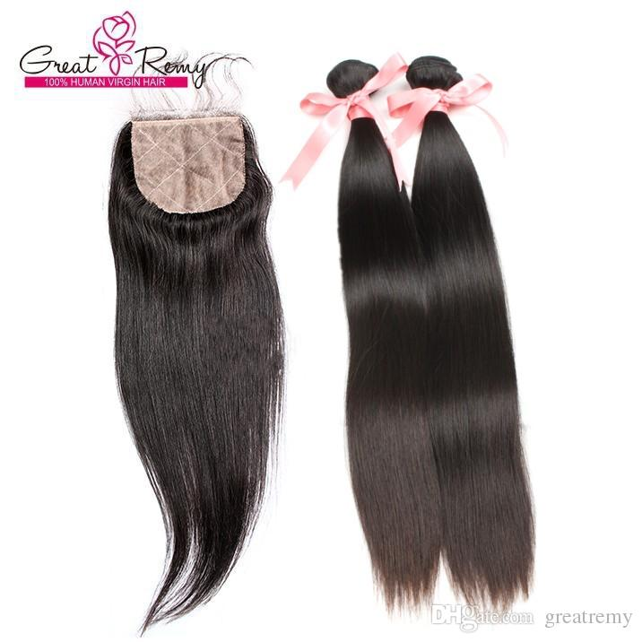 bon marché cheveux droites tissée de cheveux indiens de la soie de soie fermetures de la soie indienne temple vierge cheveux 2 paquets avec une base de soie 1pc