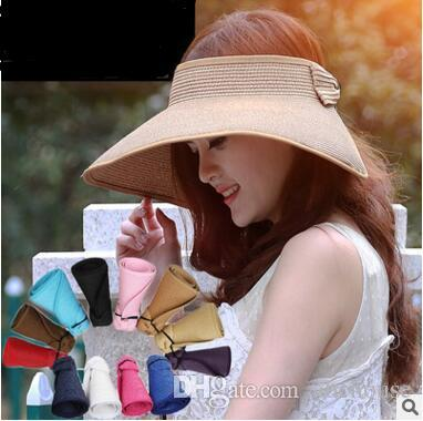 New Arrival Summer Sunshade Hat Womens Sunhats Can Roll Folding Straw Hat Beach Caps Ladies Wide Brim Sunshade Hats 20 pcs free shipping