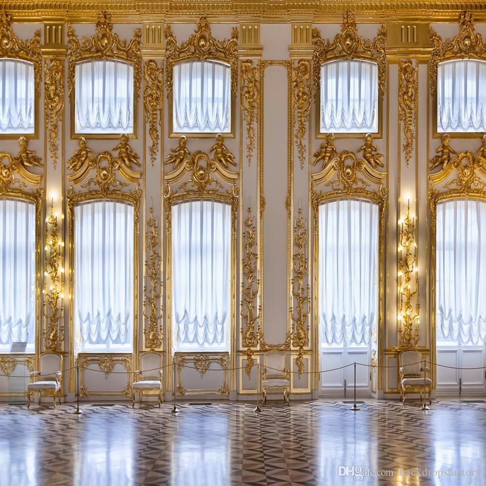 Altın Mozaik Beyaz Duvar Sanatı Fotoğrafçılık Backdrop Parlak Pencereler Lüks Kapalı Kale Fotoğraf Stüdyosu Arka Plan 10x10ft