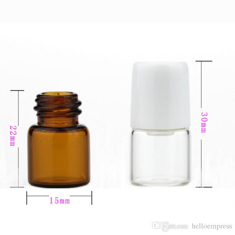 3600Pcs / Lot 1мл Small Glass Clear Amber роликовый бутылки из стекла Шариковые Духи бутылки многоразового Портативный Perfume Roll On Bottle