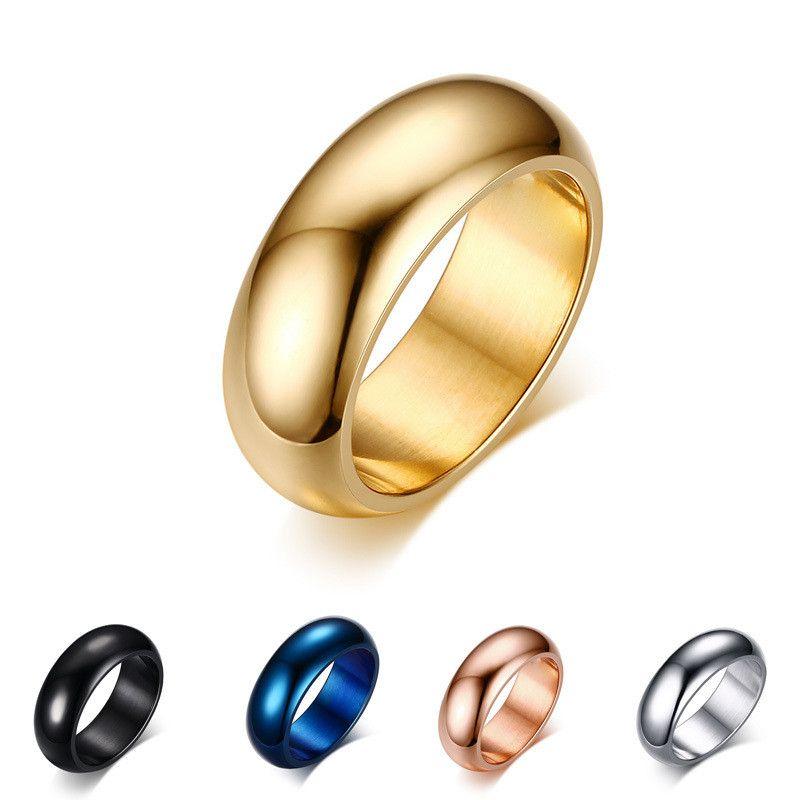 Bague de mariage classique de mode pour hommes femmes or / bleu / en argent / en acier inoxydable en acier inoxydable en acier en acier en acier en acier titane