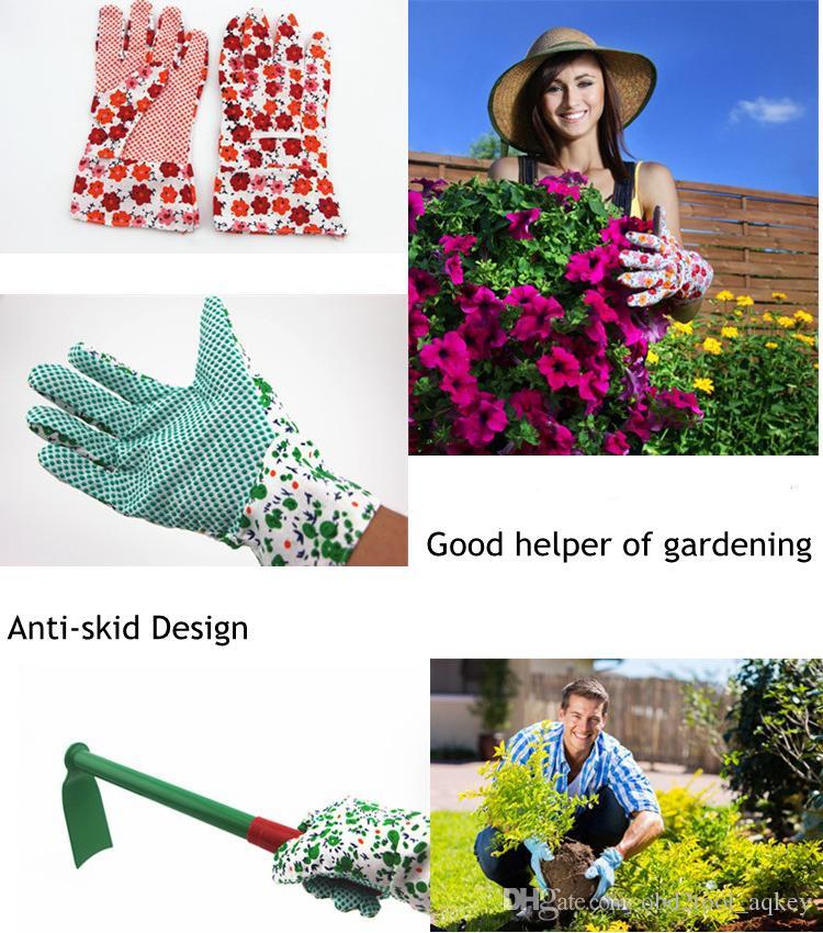 2pair Garden Gloves عدم الانزلاق ارتداء مقاومة البستنة العمل القفازات الواقية حديقة الزهور نمط