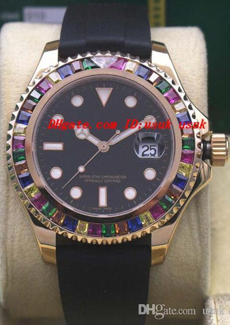Luksusowe zegarki Rainbow Diamond 18K Rose Gold 116695Sats NOWOŚĆ W Bożej Automatyczne Marka Marka Mens Watch Wristwatch