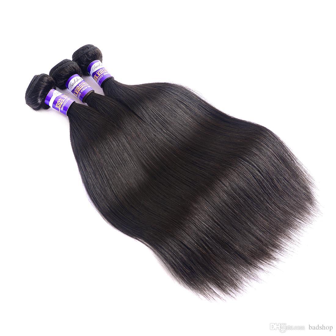 9A brasileira linha reta cabelo Weave 3 Pacotes brasileira Hetero Virgin extensões do cabelo humano não processado Virgin brasileira Cabelo Weave Pacotes