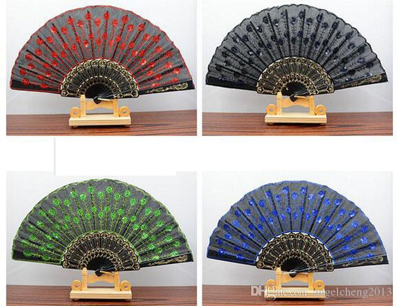 Chinese Styles Cloth Fan 9 Inch Peacock Feather Embroidery Colored Sequins Design Black Plastic Folding Hand Fan Multi-color Select Shipped