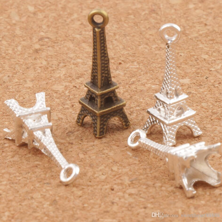 3D Paris Eiffelturm-Legierung kleine Charms Anhänger 100pcs / lot Mic Bronze Silber überzogene stilvolle 22mm * 4mm L448