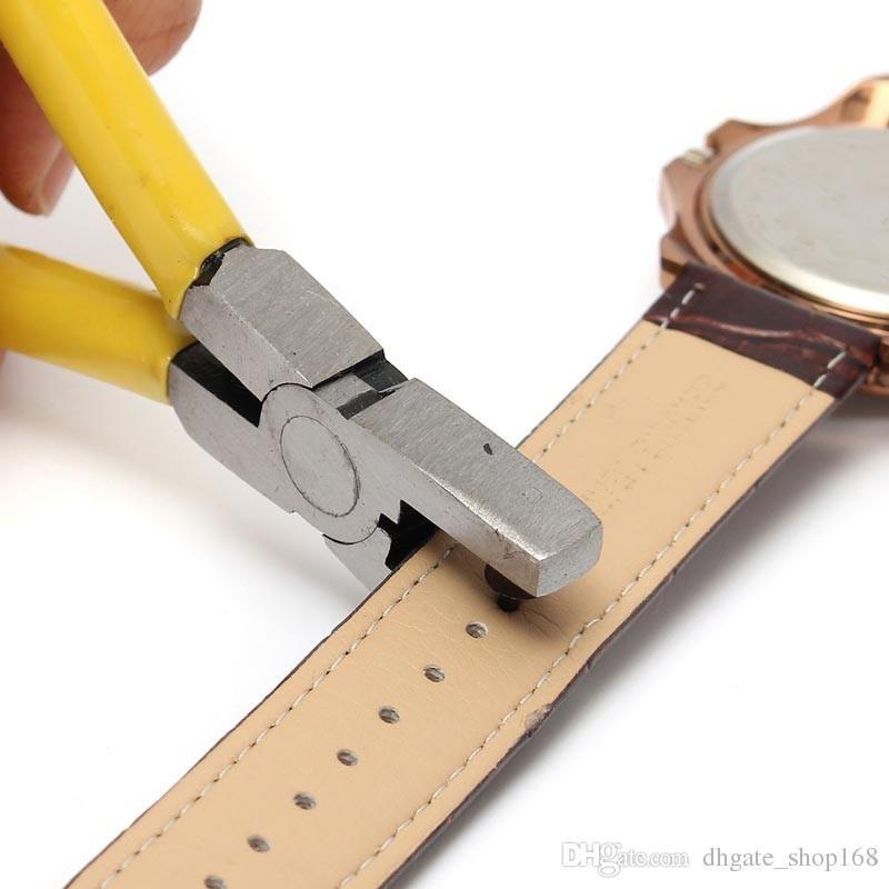 ¡¡¡Gran venta!!! Reloj amarillo para Band Strap Link Belt Hole Punch Plier Eyelet Leather Hand Repair Tool Excelente calidad