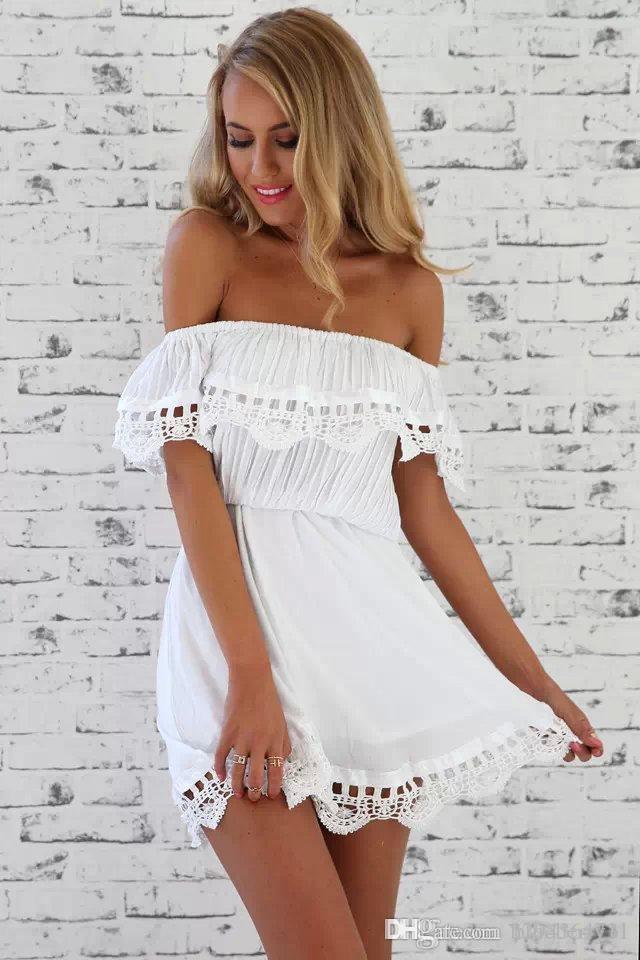 2017 donne di modo elegante mini abito bianco in pizzo vintage sexy scollo a barchetta casual slim beach abito estivo vestito estivo abiti plus size 2XL
