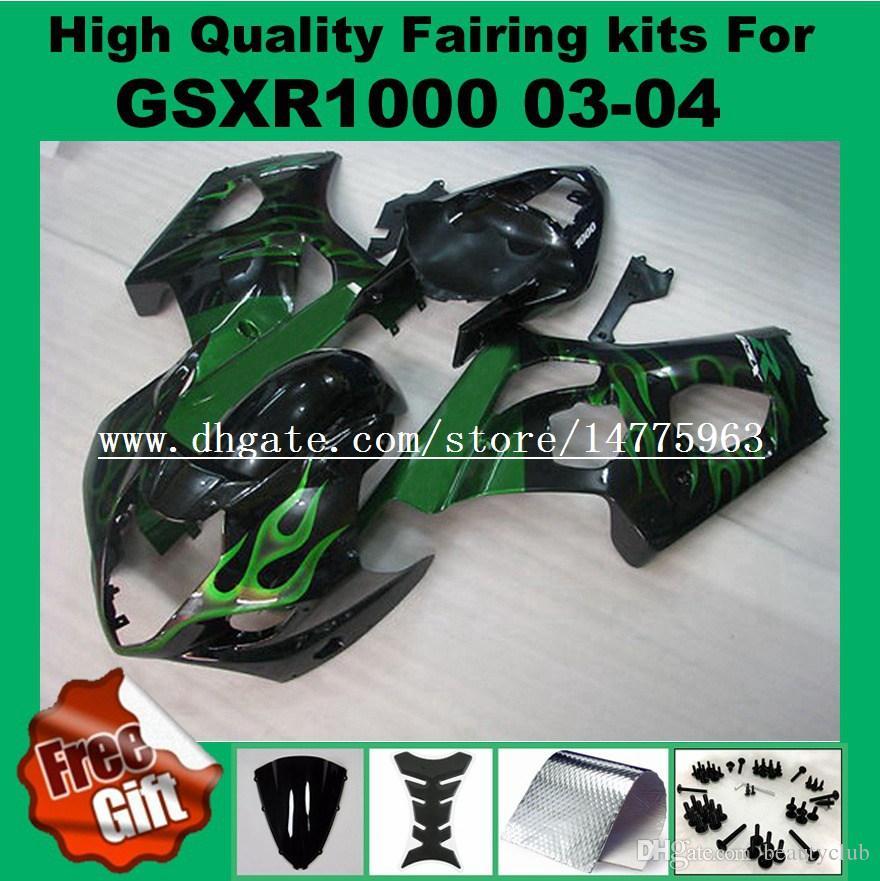 Литье под давлением обтекатель комплекты для SUZUKI GSXR1000 03 04 GSX-R1000 03 04 ABS обтекатели комплект GSXR 1000 2003 2004 зеленый пламя черный