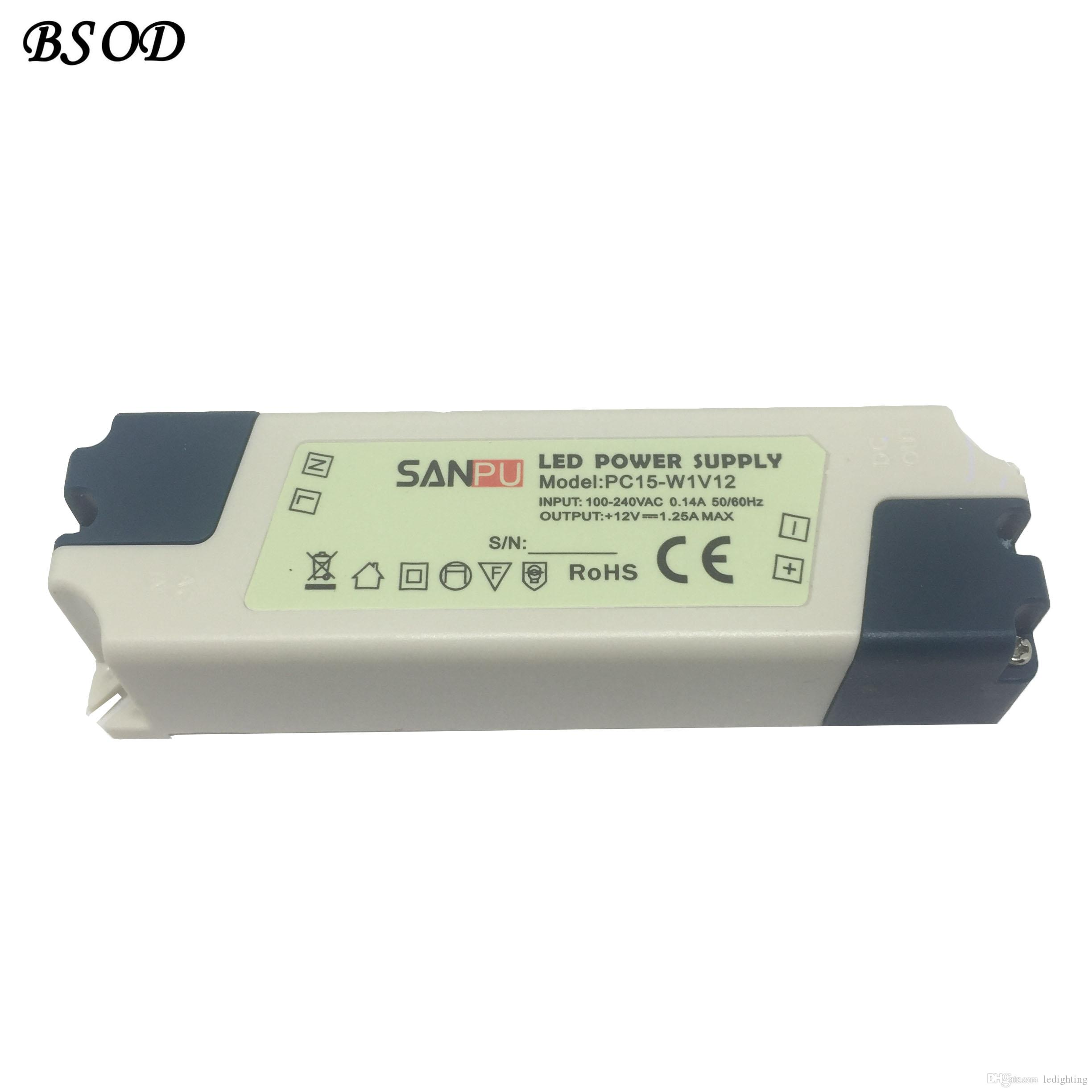 SANPU LED Power Supply 12V 15W Constant Voltage Single Output Indoor Use IP44 Plastic Shell Small Size PC15-W1V12