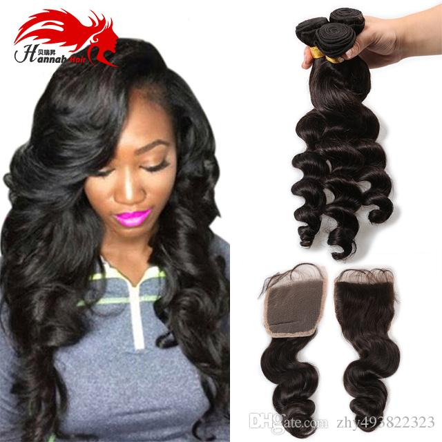 4 Hair Bundles Hannah Hair Products With Closure Brazilian Virgin Hair Loose Wave With Lace Closure Total 4Pcs/Lot