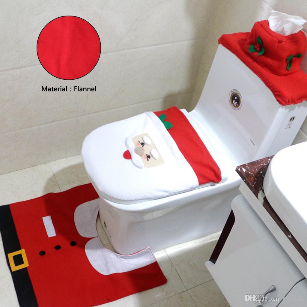 Из Трех Частей Санта Ванная Комната Набор Санта-Клаус Снеговик Стиль Туалет Охватывает Украшения Быстрая Доставка Падение Корабль Горячий