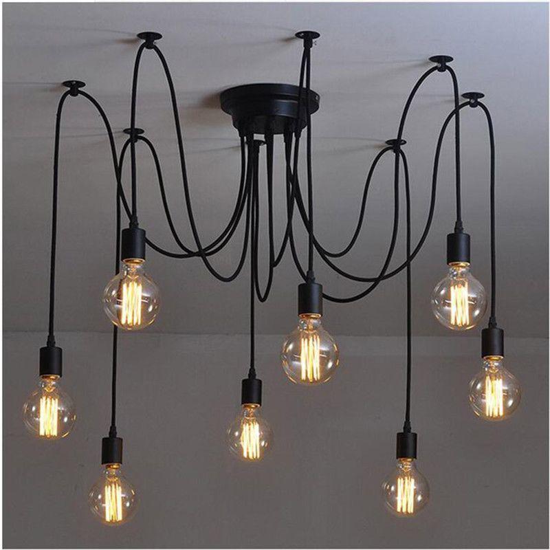Modern Retro Edison Ampul E27 Vintage Antik DIY Sanat Örümcek Kolye Işıklar 2 metre Hattı Ev Aydınlatma süspansiyon lambaları